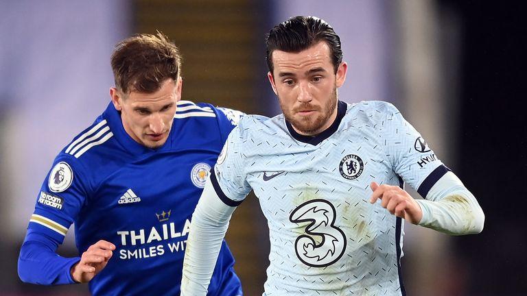 Chelsea's Ben Chilwell takes on Leicester midfielder Marc Albrighton