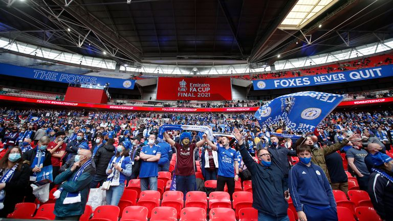 Leicester City fans hold cheer on the stands before the start of the FA Cup final soccer match between Chelsea and Leicester City at Wembley Stadium in London, England, Saturday, May 15, 2021. (Matt Childs/Pool via AP)