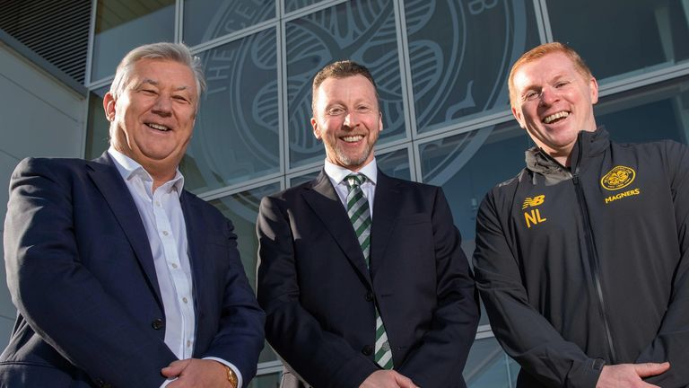 GLASGOW, SCOTLAND - OCTOBER 16: Celtic's new Head of Recruitment Nick Hammond is pictured alongside Chief Executive Peter Lawwell (L) and manager Neil Lennon at Lennoxtown, on October 16, in Glasgow, Scotland. (Photo by Ross Parker / SNS Group)..