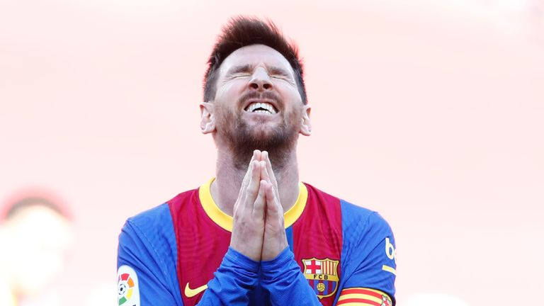 Lionel Messi shows his frustration during the draw