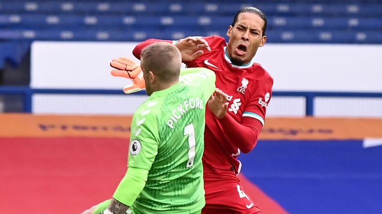 Liverpool's Virgil van Dijk was injured during a collision with Everton goalkeeper Jordan Pickford back in October