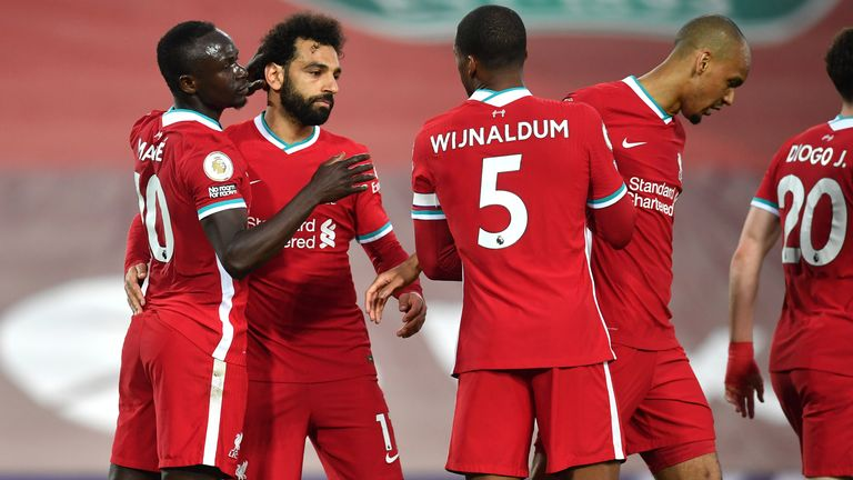 Sadio Mane celebrates his opener with team-mates