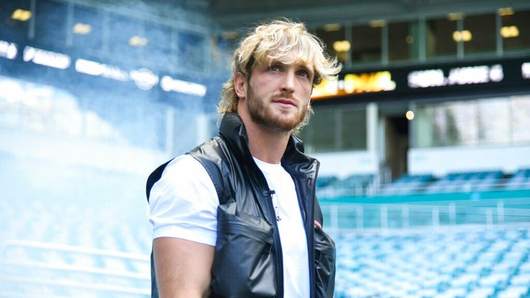 Media personality Logan Paul during a media face-off event on Thursday, May 6, 2021 in Miami Gardens, Fla. (Carlos Goldman/Miami Dolphins via AP)