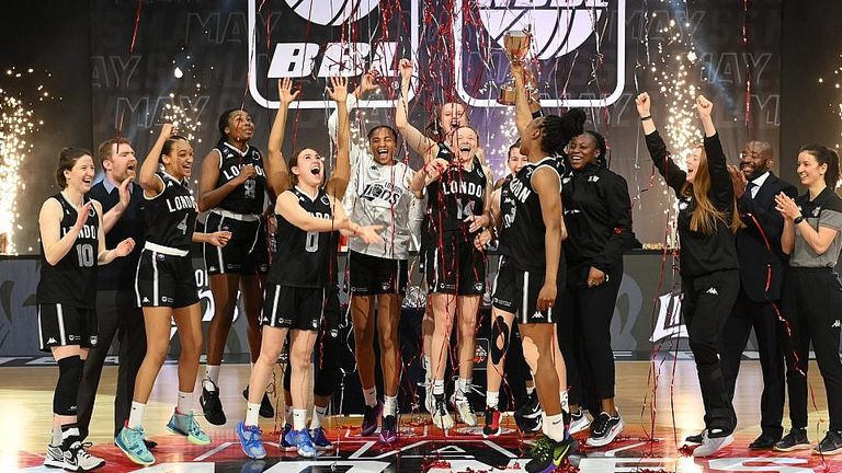 The London Lions lift the WBBL play-off trophy after seeing off the Newcastle Eagles. Image: WBBL