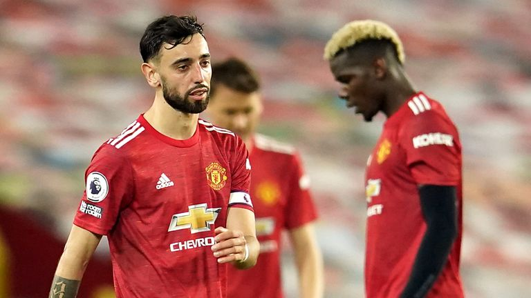 Manchester United's Bruno Fernandes and Paul Pogba appear dejected after Liverpool's fourth goal at Old Trafford