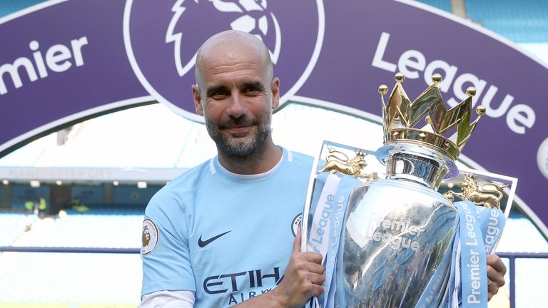 Pep Guardiola and his Manchester City side will be presented with the Premier League trophy after the game against Everton