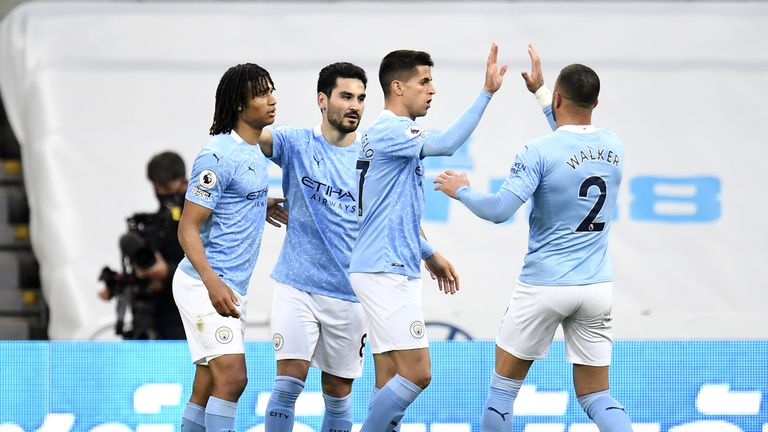 Manchester City celebrate during their 4-3 win over Newcastle