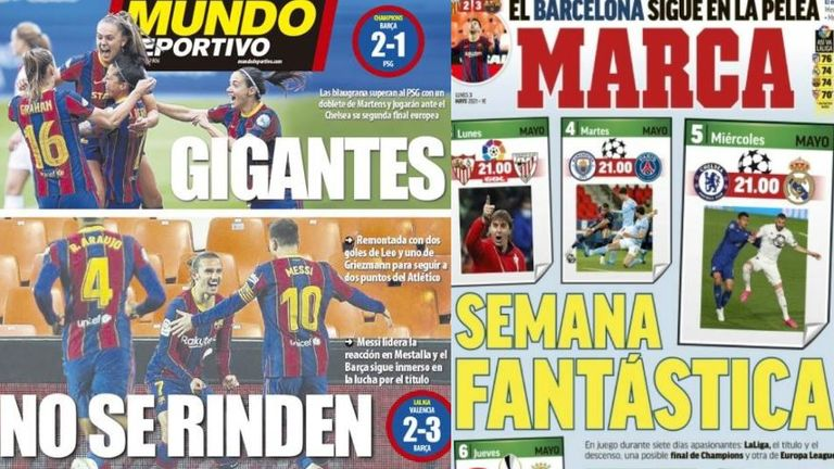 'No Surrender' reports Mundo Deportivo after Barcelona's dramatic win over Valencia while Marca heralds the 'Fantastic Week'