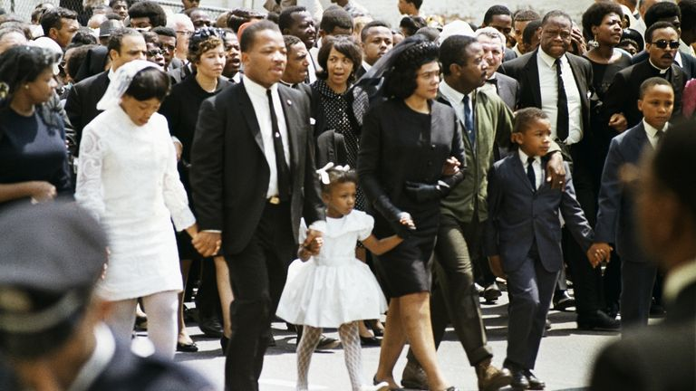 Dr. Martin Luther King Jr's family at the funeral procession on April 9, 1968