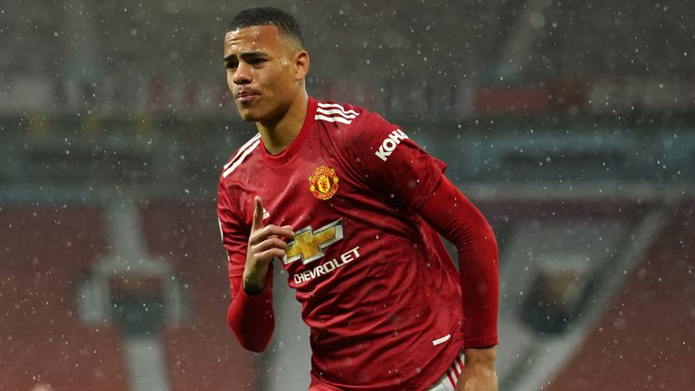 Mason Greenwood wheels away after equalising for Manchester United against Leicester