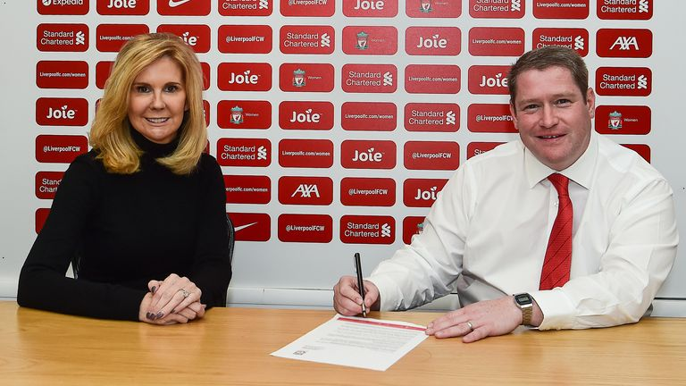 Matt Beard, pictured here with LFC Women executive director Susan Black, has returned to become the team's manager