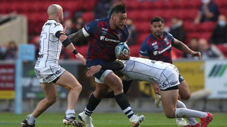 Nathan Hughes on the charge for Bristol