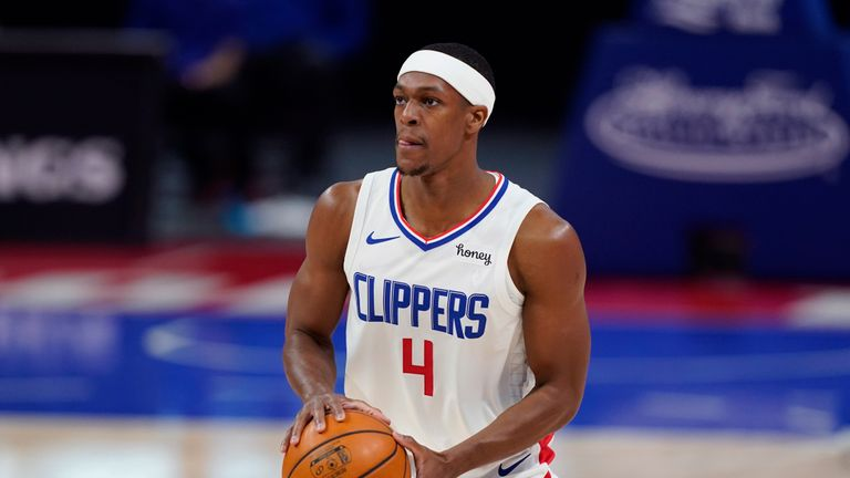 Los Angeles Clippers guard Rajon Rondo plays during an NBA basketball game, Wednesday, April 14, 2021, in Detroit. (AP Photo/Carlos Osorio)