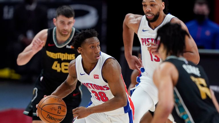 Detroit Pistons guard Saben Lee (38) looks to pass during the first half of an NBA basketball game against the Memphis Grizzlies, Thursday, May 6, 2021, in Detroit. (AP Photo/Carlos Osorio)