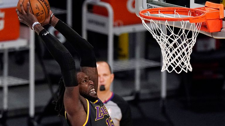 Los Angeles Lakers center Montrezl Harrell dunks during the second half of an NBA basketball game against the Houston Rockets Wednesday, May 12, 2021, in Los Angeles.