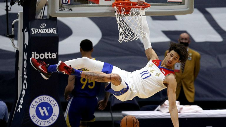 Jaxson Hayes #10 of the New Orleans Pelicans dunks the ball during the first quarter of an NBA game against the Golden State Warriors at Smoothie King Center on May 04, 2021 in New Orleans, Louisiana.