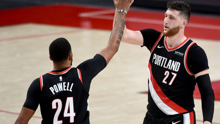 Norman Powell and Jusuf Nurkic celebrate together during Game 4