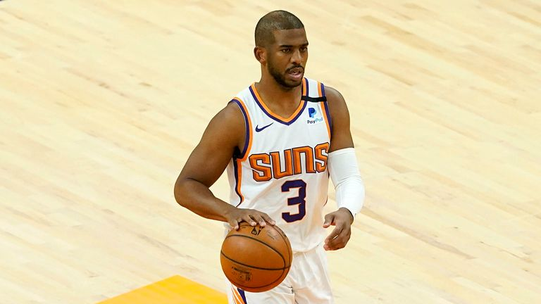 Phoenix Suns guard Chris Paul (3) against the Portland Trail Blazers during the first half of an NBA basketball game, Thursday, May 13, 2021, in Phoenix.