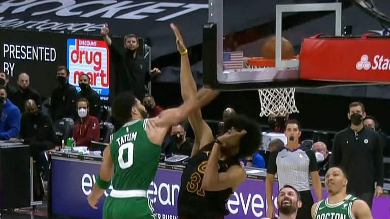 Jayson Tatum dunks over Jarrett Allen for Boston Celtics