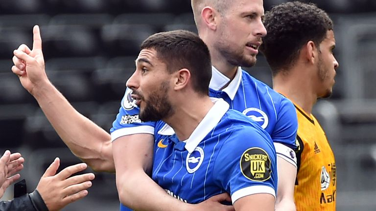 Neal Maupay was shown a straight red for arguing with referee Jon Moss