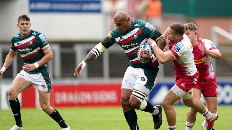 Nemani Nadolo looks to get through the tackle of Harlequins' Luke Northmore