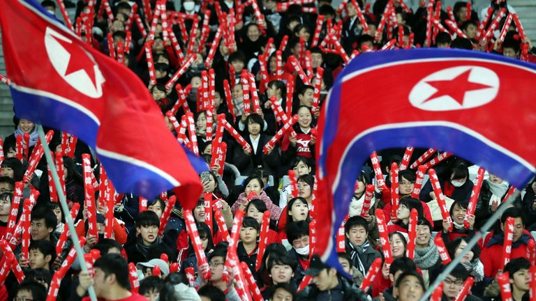 AP - North Korea flag and supporters