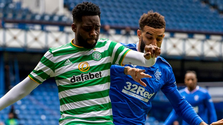 GLASGOW, SCOTLAND - MAY 02: Celtic's Odsonne Edouard and Connor Goldson in action during a Scottish Premiership match between Rangers and Celtic at Ibrox Park, on May 02, 2021, in Glasgow, Scotland. (Photo by Alan Harvey / SNS Group)