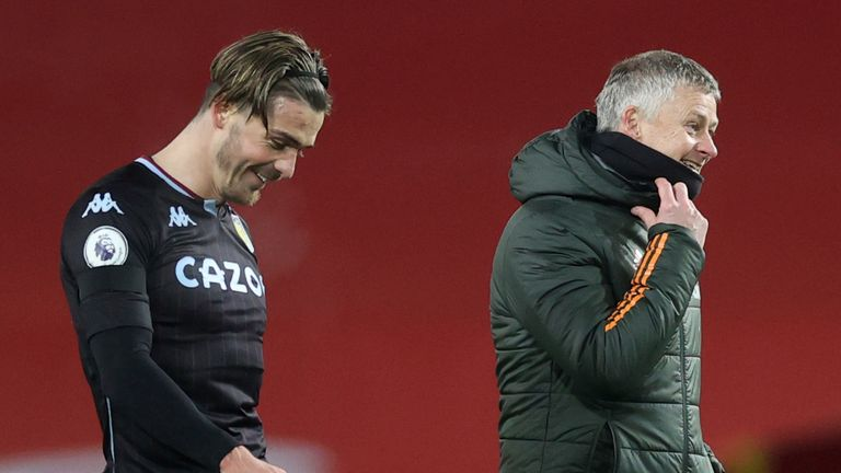 Jack Grealish speaks to Ole Gunnar Solskjaer earlier this season