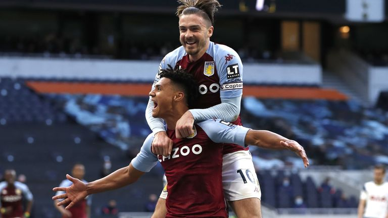 Ollie Watkins celebrates with Jack Grealish after putting Villa 2-1 up
