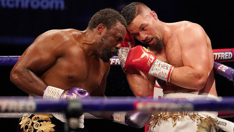 *** Free for editorial use ***.  Derek Chisora vs Joseph Parker, heavyweight competition.  May 1, 2021. Photo by Dave Thompson Matchroom Boxing