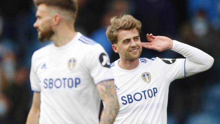 Patrick Bamford gestures after scoring Leeds'  third goal
