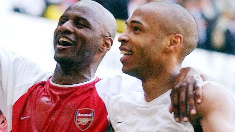 Patrick Vieira (left) and Thierry Henry have joined Bergkamp in backing Daniel Ek's bid to buy Arsenal (PA)