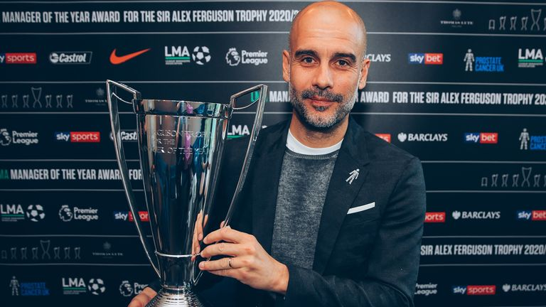 Manchester City manager Pep Guardiola has been named League Managers' Association's manager of the year