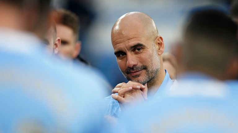 Pep Guardiola is pictured during Man City's title celebrations at the Etihad Stadium (AP)