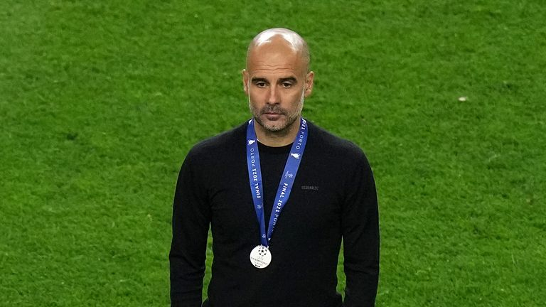 Manchester City manager Pep Guardiola after the final whistleduring the UEFA Champions League final match held at Estadio do Dragao in Porto, Portugal