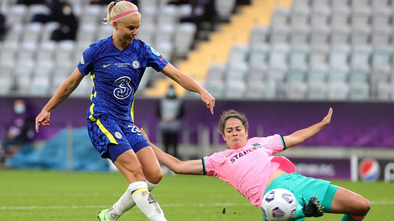Pernille Harder shoots in the first half