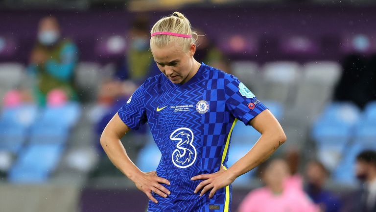 Chelsea's Pernille Harder looks dejected during the UEFA Women's Champions League final, at Gamla Ullevi, Gothenburg. Picture date: Sunday May 16, 2021.