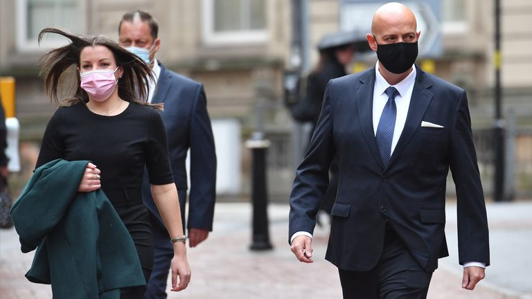 West Mercia Police constables Benjamin Monk (right) and Mary Ellen Bettley-Smith (left) arrive at Birmingham Crown Court