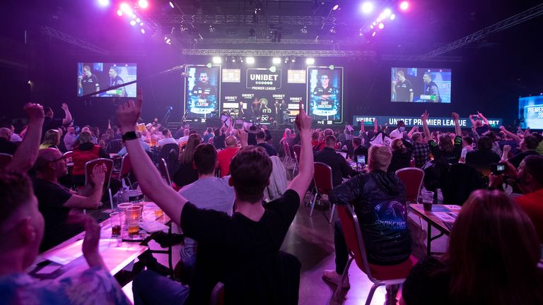 Premier League Darts is back in front of a crowd and the players are enjoying putting on a show