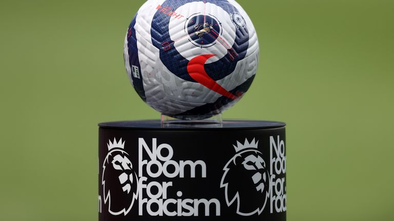 View of a Premier League matchball and plinth with 'No Room for Racism' branding
