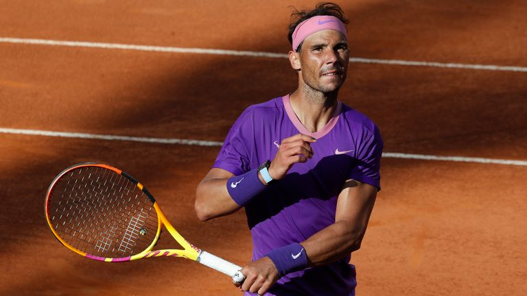 Rafael Nadal saved two match points against Denis Shapovalov to advance in Rome