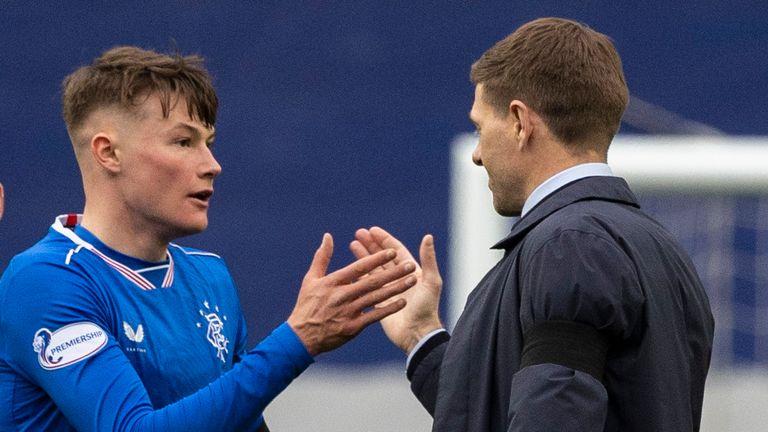 Steven Gerrard congratulates Rangers academy product Nathan Patterson