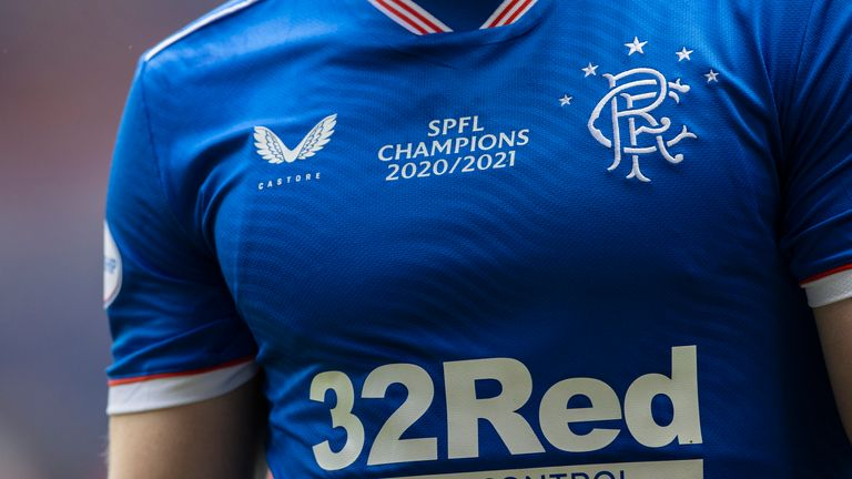GLASGOW, SCOTLAND - MAY 15: A general view of Rangers' strips  during the Scottish Premiership match  between Rangers and Aberdeen  at Ibrox Stadium, on May 15, 2021, in Glasgow, Scotland. (Photo by Craig Williamson / SNS Group)