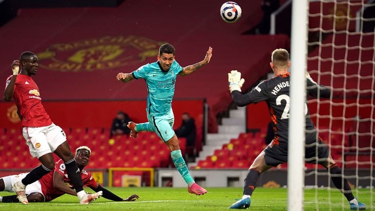 Roberto Firmino heads Liverpool into a 2-1 lead at Manchester United