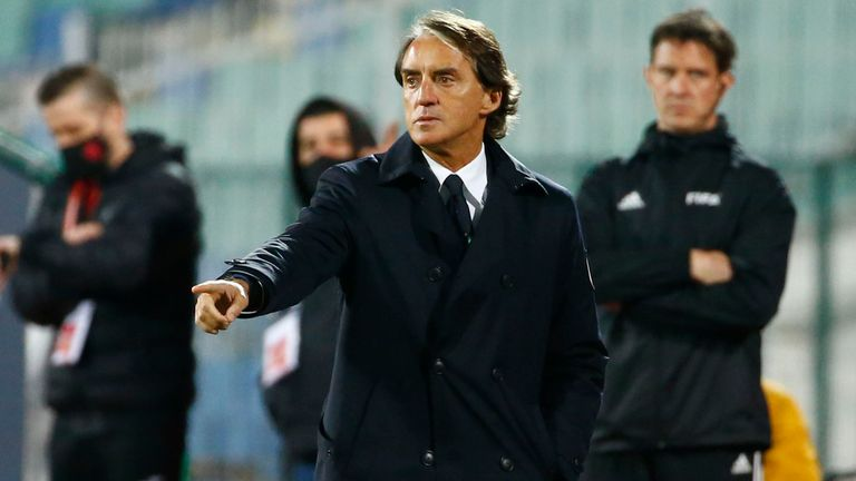 Italy head coach Roberto Mancini gestures during the World Cup 2022 Group C qualifying soccer match between Bulgaria and Italy at Vassil Levski stadium, in Sofia, Sunday, March 28, 2021. (AP Photo/ Tony Uzunov)