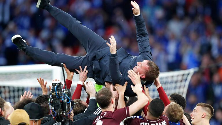 Leicester boss Brendan Rodgers is held aloft after his side's FA Cup win