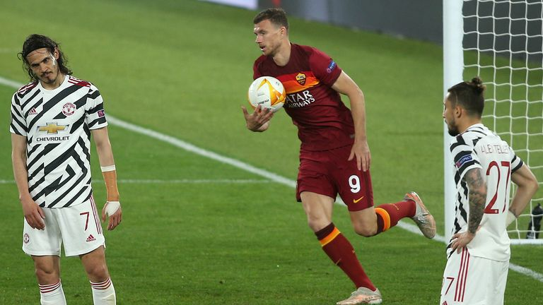 Roma's Edin Dzeko after scoring against Manchester United