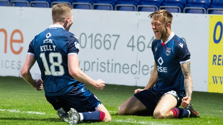 Ross County's Charlie Lakin celebrates making it 2-1 during the Scottish Premiership match between Ross County and Hamilton at the Global Energy Stadium