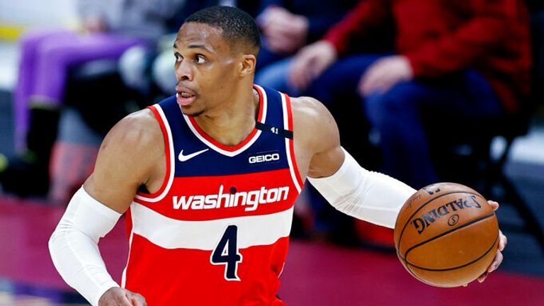 Washington Wizards' Russell Westbrook drives against the Cleveland Cavaliers during the second half of an NBA basketball game, Friday, April 30, 2021, in Cleveland. (AP Photo/Ron Schwane)