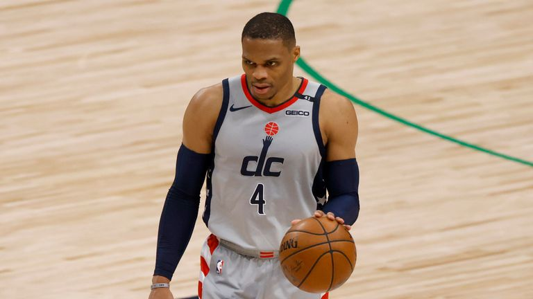 Washington Wizards guard Russell Westbrook handles the ball against the Dallas Mavericks